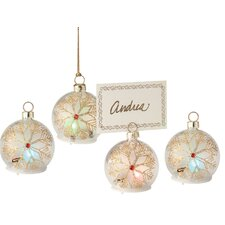 Snowflake LED Glass Ornament and Place Card Holder (Set of 4)