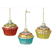 Cupcake Glass Ornament (Set of 3)