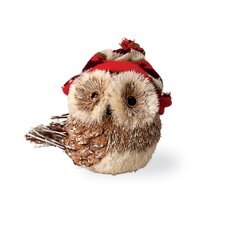 Owl with Red Brim Hat Holiday Accent