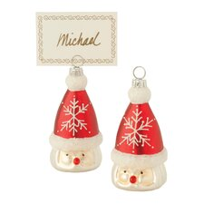 Santa Glass Ornament and Place Card Holder (Set of 4)