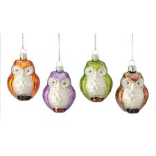 <strong>October Hill</strong> Owl Glass Ornament (Set of 4)