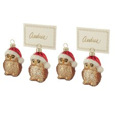 Owl Ornament and Place Card Holder (Set of 4)