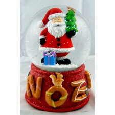 Happy Santa on Red Base Musical Waterglobe
