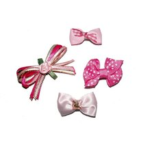 Four Girly Girl Dog Hair Bow Barrettes