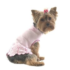 <strong>A Pet's World</strong> Embroidered Flower Dog T-shirt with Scalloped Edge