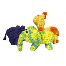 <strong>A Pet's World</strong> Trio of Hand Crocheted Safari Dog Toys with Squeaker