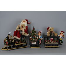 Crakewood 3 Piece Lighted Train Santa Set