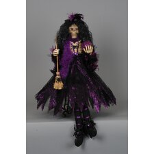 Spooktacular Halloween Skeleton Witch Figurine