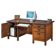 "Craftsman Home Office 72"" W Executive Modesty Computer Desk with Door"