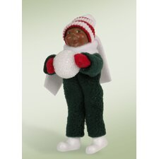 African American Toddler with Snowball Figurine