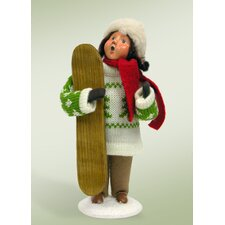 Kids with Snowboards Girl Figurine