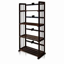 Pine Solid Wood 4-Tier Bookshelf