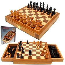 <strong>Trademark Global</strong> Elegant Inlaid Wood Cabinet with Staunton Wood Chessmen