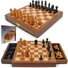 <strong>Trademark Global</strong> Inlaid Walnut Style Wood Cabinet with Staunton Wood Chessmen