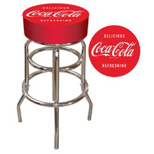 "Coca Cola 30"" Vintage Pub Bar Stool with Cushion"