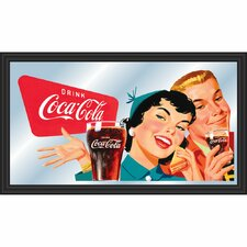 Coca Cola Vintage Horizontal Mirror with Couple Enjoying Coke Design