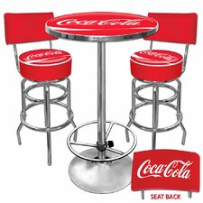 Coca Cola Ultimate Gameroom Combo - 2 Bar Stools with Backs &Table in Red
