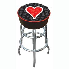 "30"" Four Aces Heart Logo Padded Bar Stool"
