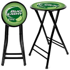 "24"" Bud Light Lime Folding Bar Stool with Cushion"