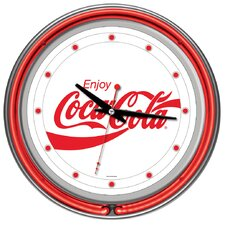 Enjoy Coke White Neon Clock with 2 Neon Rings