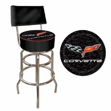 Corvette C6 Padded Bar Stool with Back in Black on Black
