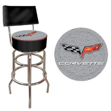 Corvette C6 Padded Bar Stool with Back in Silver