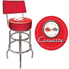 Corvette C1 Padded Bar Stool with Back in Red on Red