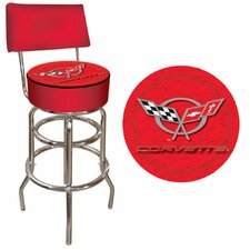 Corvette C5 Padded Bar Stool with Back in Red
