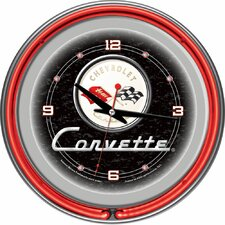 "Corvette C1 14"" Neon Wall Clock in Black"
