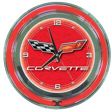 "Corvette C6 14"" Neon Wall Clock in Red"
