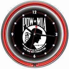 "POW 14"" Double Ring Neon Wall Clock"