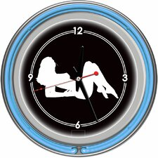 Shadow Babes - A Series - Clock with Two Neon Rings in Blue