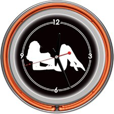 Shadow Babes - A Series - Clock with Two Neon Rings in Orange