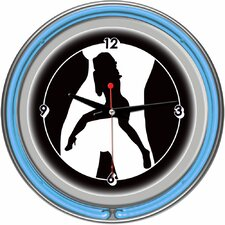 Shadow Babes - C Series - Clock with Two Neon Rings in Blue