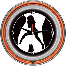 Shadow Babes - C Series - Clock with Two Neon Rings in Orange