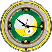 """Rack'em 9-Ball Neon 14"""" Wall Clock"""