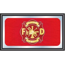 Fire Fighter Big Wood Framed Mirror