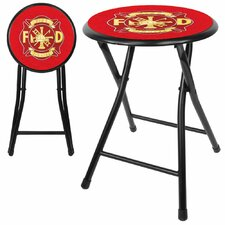 "18"" Fire Fighter Folding Bar Stool with Cushion"