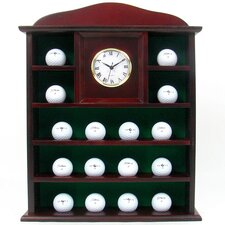 Stunning Solid Wood Golf Ball Holder with Quartz Clock