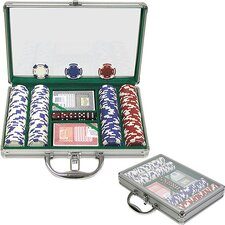 Holdem Poker Chip Set with Clear Cover Aluminum Case