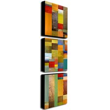 Color Panels Olive Stripes by Michelle Calkins Canvas Art (Set of 3)