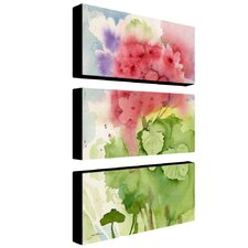 Pink Geranium by Sheila Golden 3 Piece Painting Print on Canvas Set