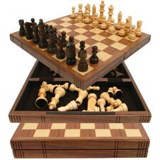 Chess Board Walnut Book Style with Staunton Chessmen