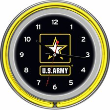 "U.S Army 14.5"" Double Ring Neon Wall Clock"