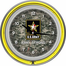"U.S Army 14.5"" Digital Double Ring Neon Wall Clock"