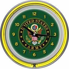 "U.S Army 14.5"" Symbol Double Ring Neon Wall Clock"