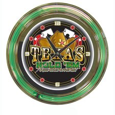 "14"" Texas Hold 'em Neon Wall Clock"