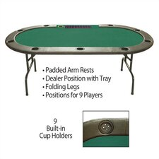 "9 Player Poker & Casino 96"" Hold'em Poker Table with Dealer Position and Tray"