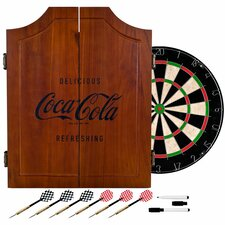Coca Cola Wood Dart Cabinet Set