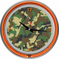 "14.5"" Hunt Camo Double Ring Neon Wall Clock"